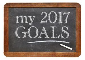 My 2017 goals - white chalk text on a vintage slate blackboard